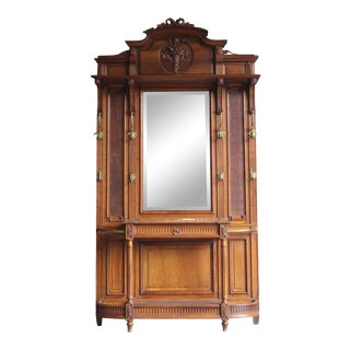 Antique French Mirrored Hall Tree For Sale