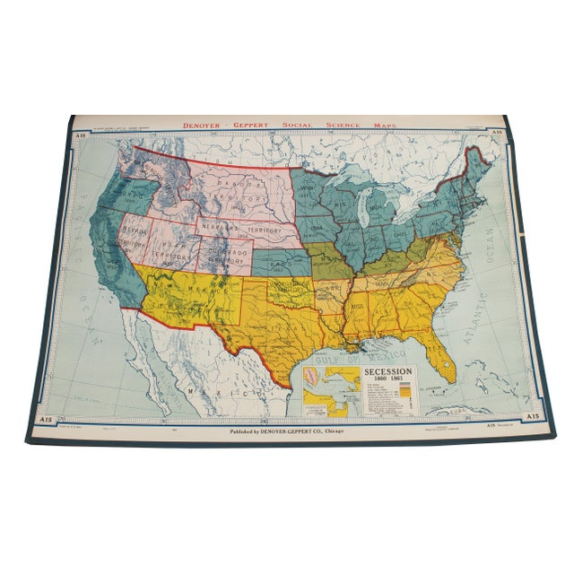 "Denoyer-Geppert Vintage Schoolhouse ""Usa Secession"" Map For Sale - Image 4 of 4"