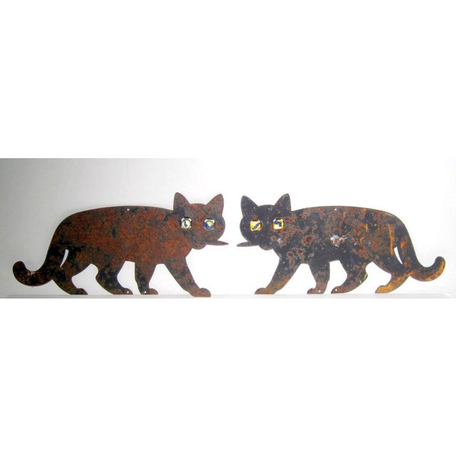 Metal Black Cats with Marble Eyes - A Pair - Image 2 of 5