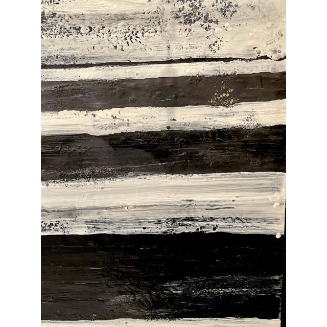 """1990s Lynn Basa Encaustic Black and White Stripe Panel """"The Speckled Band"""" 2013 For Sale - Image 5 of 11"""