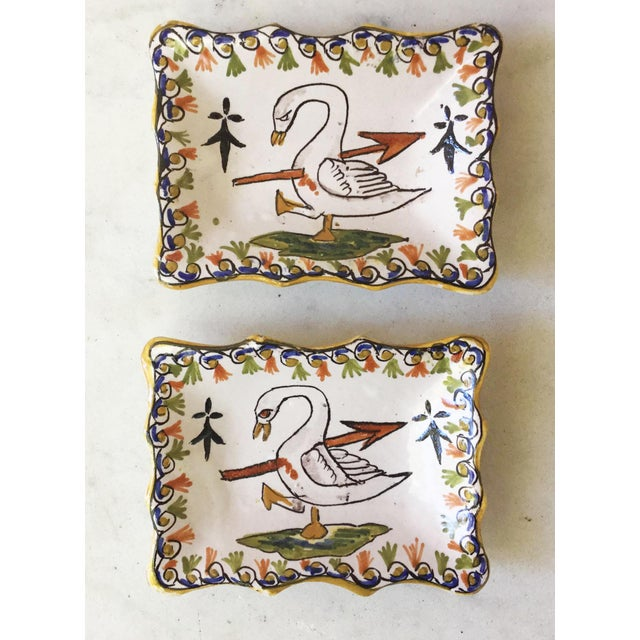 1910s 1910 Antique French Faience Swan Dishes - a Pair For Sale - Image 5 of 5