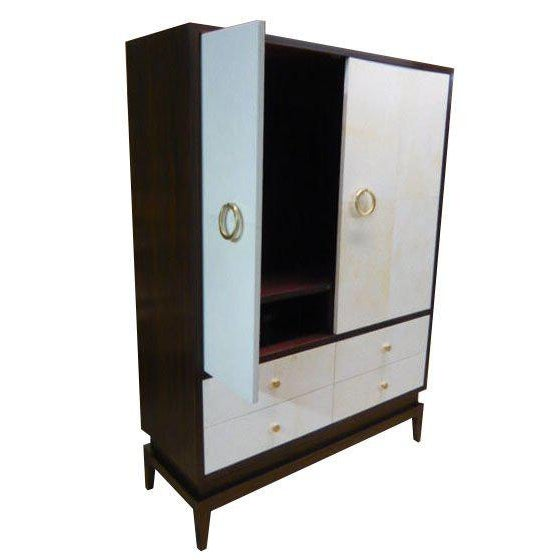 Italian Clarke Parchment Armoire For Sale - Image 4 of 5