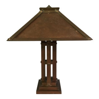 Period Prairie School Arts and Crafts Bronze and Copper Table Lamp For Sale