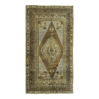 Vintage Turkish Oushak Hand Knotted Rug - 5'3 X 9'8 For Sale