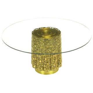 Glass Coffee Table With Base of Solid Brass Pierced Brutalist Relief Panels For Sale