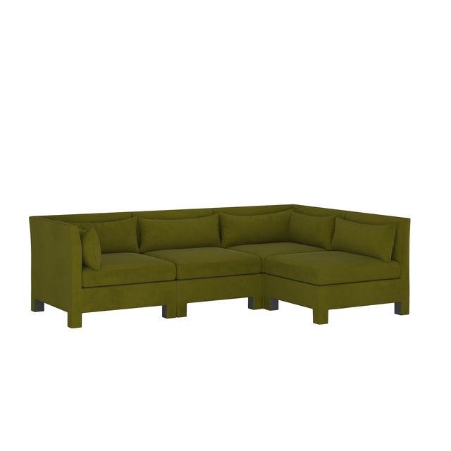 4 Piece Sectional , Velvet Applegreen For Sale - Image 9 of 9