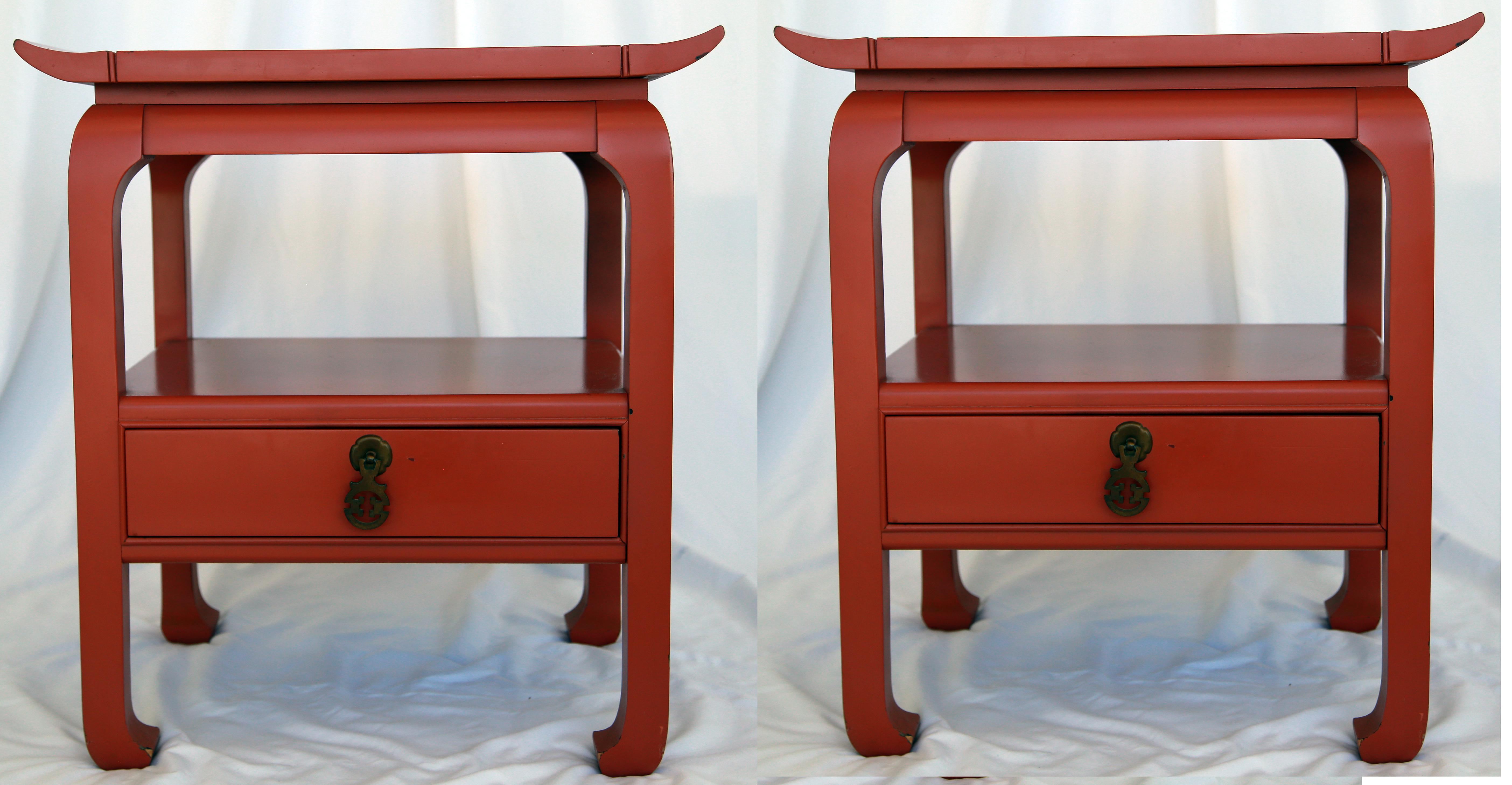 Kent Coffey Red Lacquered Asian Style Side Tables   A Pair   Image 2 Of 7