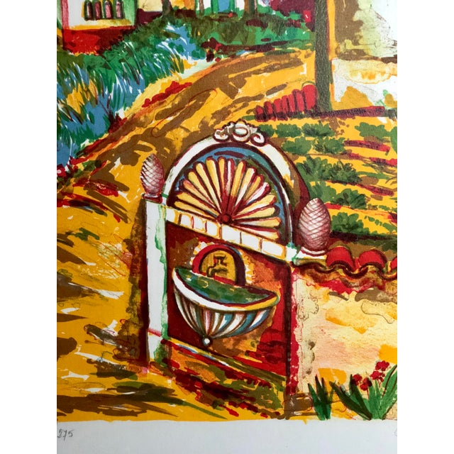 Vibrant Impressionist Retro Framed Print of a Colonial Town For Sale In Atlanta - Image 6 of 11