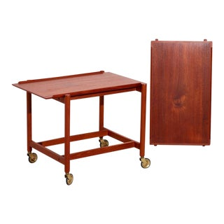 1950s Danish Modern Teak Serving Cart by Poul Hundevad For Sale