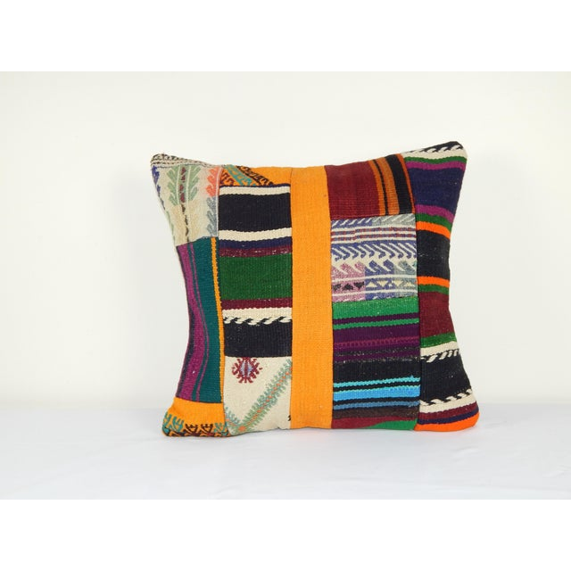 """Vintage Turkish Patchwork Kilim Pillow 20"""" X 20"""" For Sale In Dallas - Image 6 of 6"""