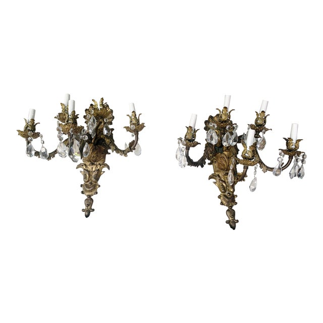 French Rococo Gilt Bronze and Crystal Sconces With Five Arms, Circa 1820 - a Pair For Sale