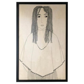 Ink Drawing of a Young Girl by Jerry O'Day For Sale