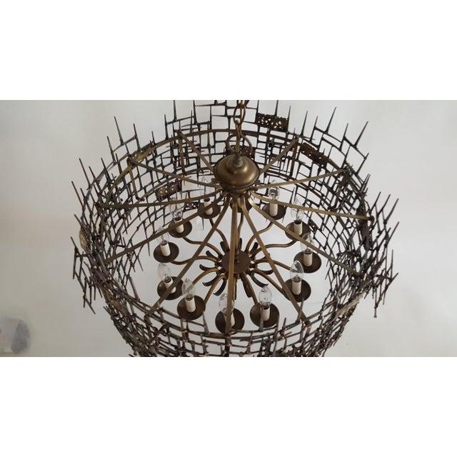 Welded Bronze & Nails Metal Chandelier For Sale - Image 4 of 11