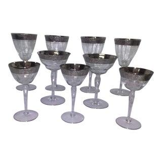 Vintage Silver Rimmed Wine Glasses - Set of 9 For Sale