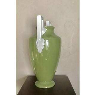 Large Neoclassical Green Ceramic Vase With White Square Handles by Global Views Preview