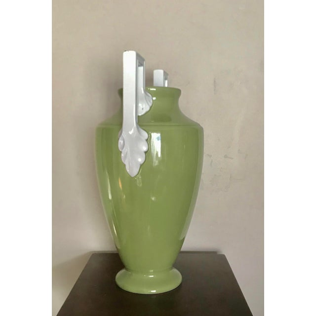 Stunning moss green Neoclassical vase Sikh square white handles Brand: Global Views