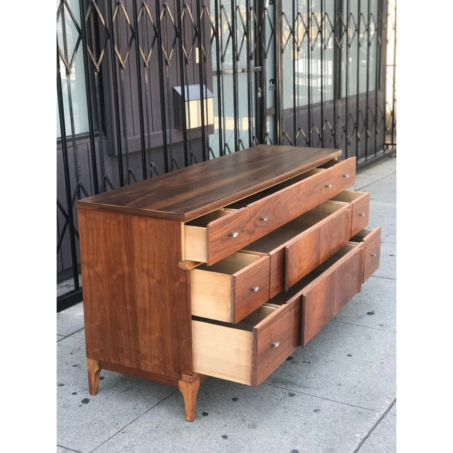 Metal Mid Century Credenza With Metal Pulls For Sale - Image 7 of 11
