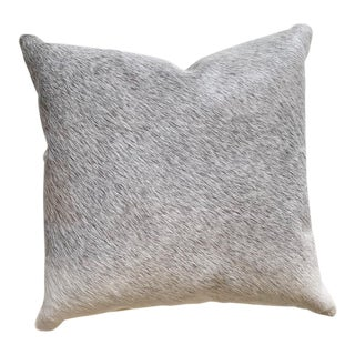 "Forsyth 18"" Salt and Pepper Gray Brazilian Cowhide Pillow For Sale"
