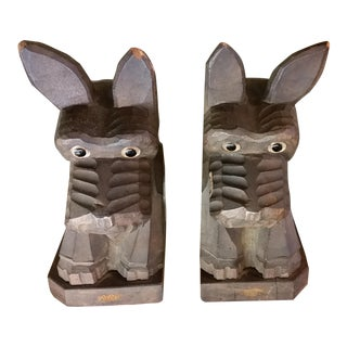 1940s Vintage Rustic Carved Wood Scotty Dog Bookends- A Pair For Sale
