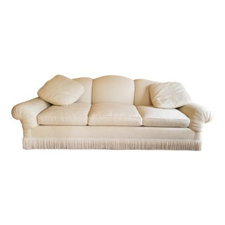 Mario Buatta for John Widdicomb Scalloped Back Scroll Arm Tassle Fringe White Sofa For Sale