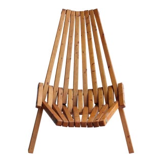 Mid-Century Wood Folding Lounge Chair For Sale