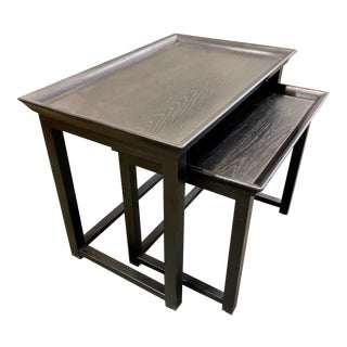 Modern Ebony Finished Wood Nesting Table Set of Two For Sale