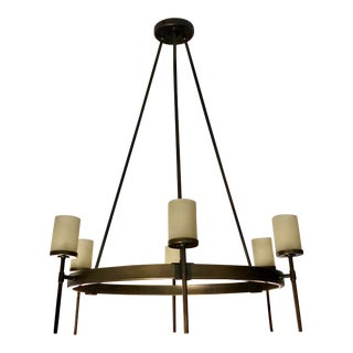 Transitional Oiled Bronze 6 Arm Williams Sonoma Chandelier For Sale