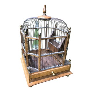 Antique European Wooden/Wire Domed Birdcage For Sale