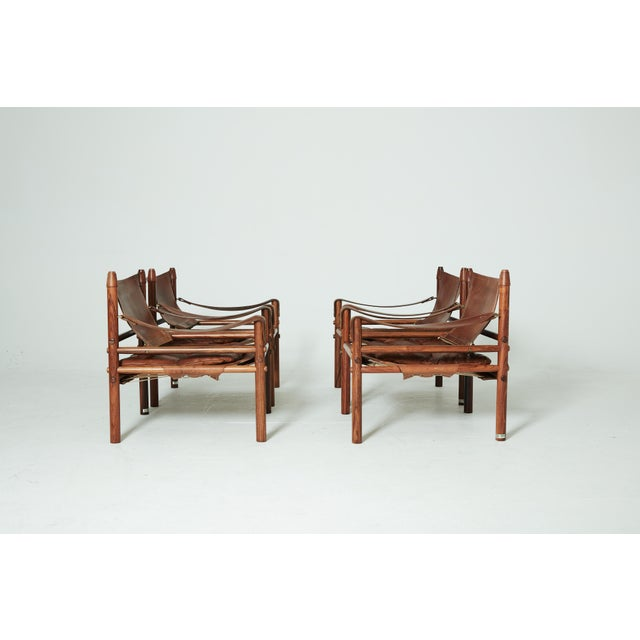 Mid 20th Century Rare Set of Four Arne Norell Safari Sirocco Chairs, Sweden, 1960s For Sale - Image 5 of 13