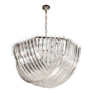 Large Modernist Murano Glass Ribbon Chandelier For Sale