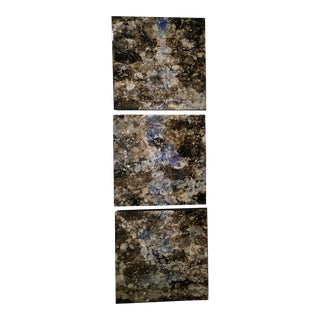 """Marie Danielle Leblanc """"Chyamchee"""" Abstract Landscape Nepal, Brown, Blue Hi-Gloss Triptych Painting For Sale"""