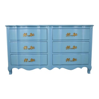 French Provincial Light Blue Dresser For Sale