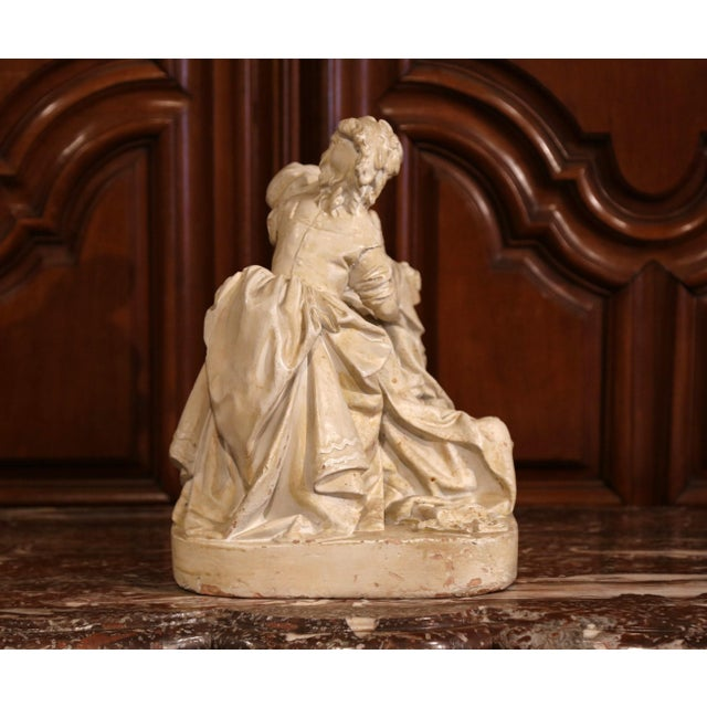 "19th Century American Cast Plaster Sculpture ""Playing Doctor"" Signed John Rogers For Sale - Image 9 of 13"