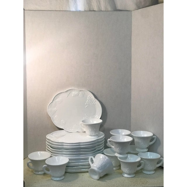 ce137662300b Traditional Vintage Westmoreland Milk Glass Grape Snack Plates With  Matching Tea Cups - Set of 24