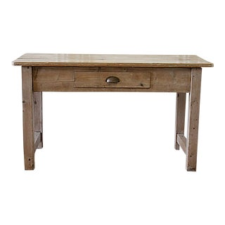 19th Century Rustic Pine Console Table With Drawer For Sale
