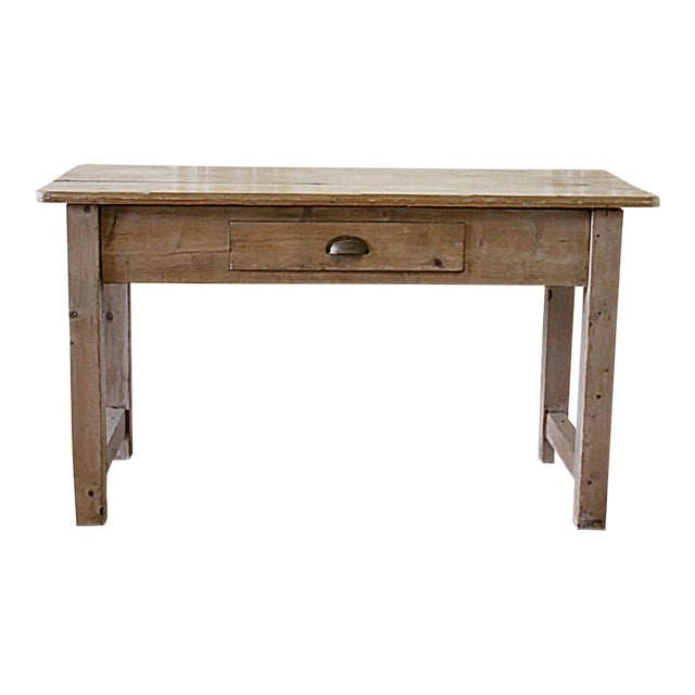 19th Century Rustic Pine Console Table With Drawer | Chairish
