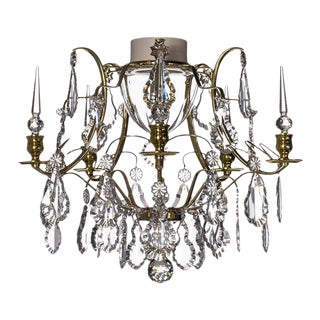 Bathroom Chandelier in Brass Wth Crystal Pendolqes and Leaf Crystals