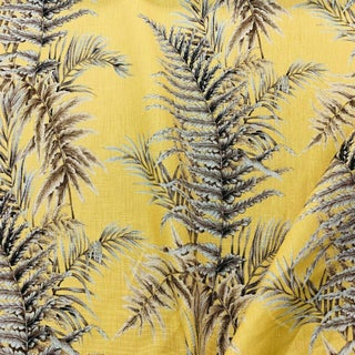Boho Chic Gaston Y Daniela Fern Leaves Linen Designer Fabric by the Yard Preview
