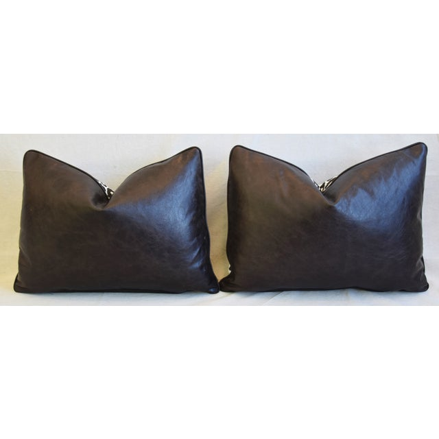 """Schumacher Animal Leopard Spot & Leather Feather/Down Pillows 22"""" X 16"""" - Pair For Sale - Image 10 of 13"""