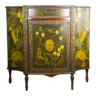 20th C. Chinoiserie Carved Mahogany Console Cabinet