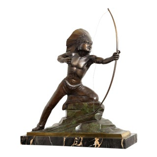 French Art Deco Bronze Signed E. Guy For Sale
