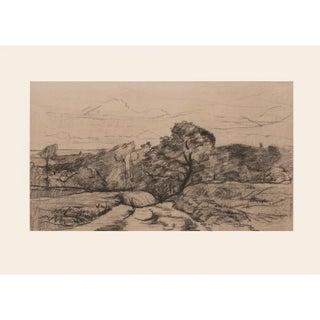 "1959 Charles-Francois Daubigny ""Landscape"" Large Vintage Lithograph For Sale"