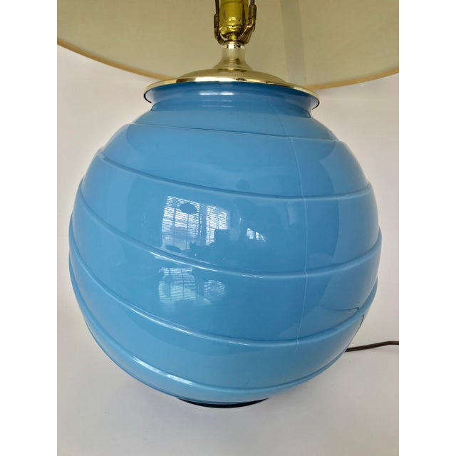Art Deco Sky Blue Glass Table Lamp - Image 9 of 9