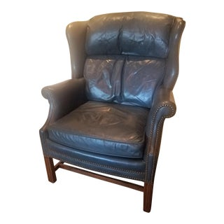Whittemore Sherrill Chippendale Style Blue Leather For Sale