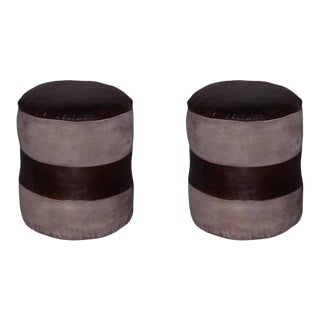 Tristin Round Leather Pouf Set For Sale
