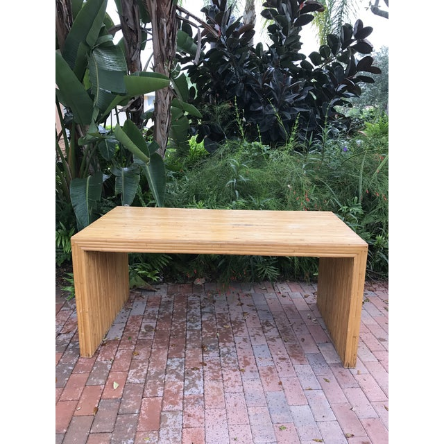 Rare Vintage Pencil Reed Bamboo Waterfall Table! Can be used as a desk or a small dining table. Perfect for an island home...