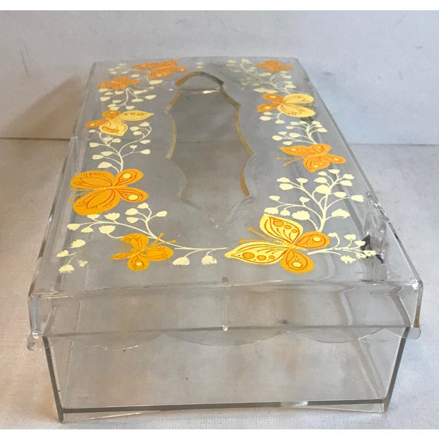 Vintage Lucite Painted Tissue Box Cover For Sale - Image 4 of 10