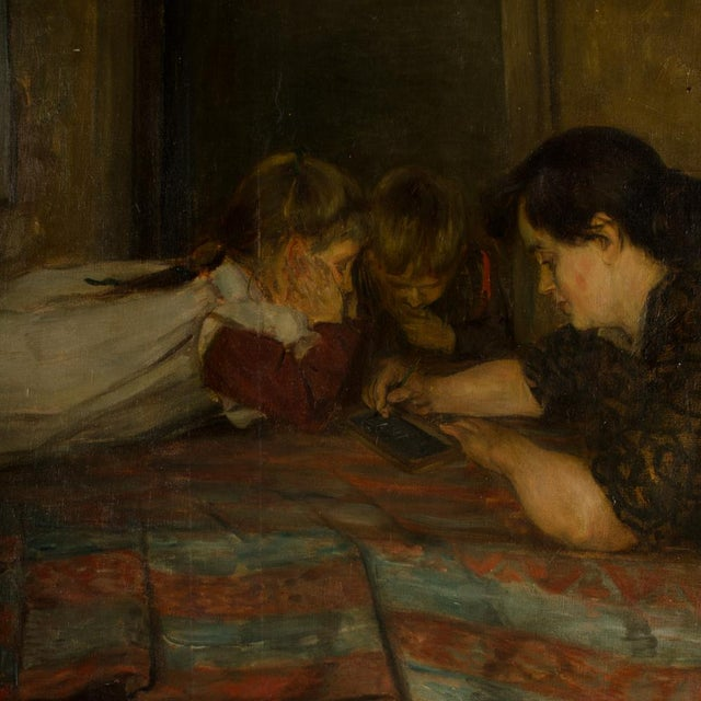 """19th Century 19th Century """"Family Time"""" Figurative Oil Painting For Sale - Image 5 of 11"""
