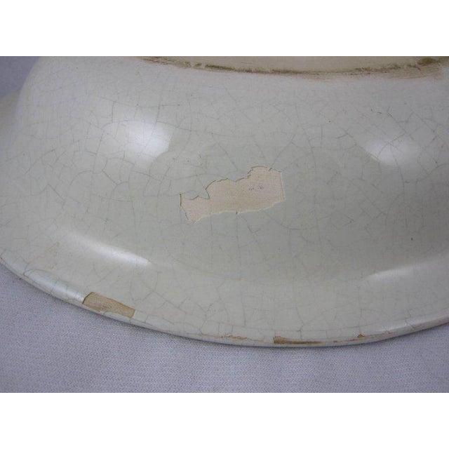 Blue HenRiot Quimper Oval Faience Bowl, Femme de la Campagne Breton For Sale - Image 8 of 9