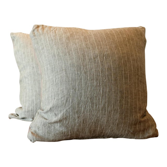 Rogers & Goffigon Washed Linen Striped Pillow Covers - A Pair For Sale